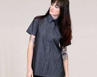 Minimal Black Chambray Tunic - faux button up shirt with collar - minimalist fashion M