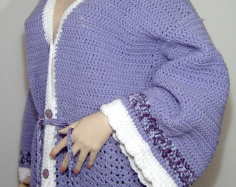 Fab purple crochet wool sweater coat - Large - XL - plus - lavender - lilac - chunky hand made knit - new - mint condition