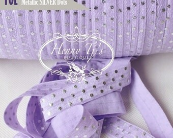 "LAVENDER /Metallic SILVER Foil : Polka Dots Fold Over Elastic Printed. Aztec foe - 5/8"" foe 2, 5 or 10 Yards. DIY Headband Supplies"