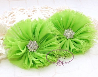 """Apple Green - 2 pcs 2.5"""" inch Adeila Collection Shabby Frayed Chiffon Ruffle Flowers with Rhinestone, applique , hair accessories"""