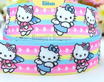 "4 yards: Hello Kitty Blue Bow Character Logo Brand Inspired Spring Rainbow Stripes Grosgrain Ribbon 7/8"" inch wide. Gift Wrap. DIY Supplies"