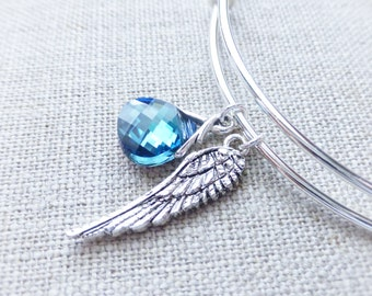 Angel Wing Charm Adjustable Bangle Bracelet, Swarovski Ocean Blue Crystal Charm, Silver Jewelry, Bohemian Bracelet, Jewelry, Summer Fashion