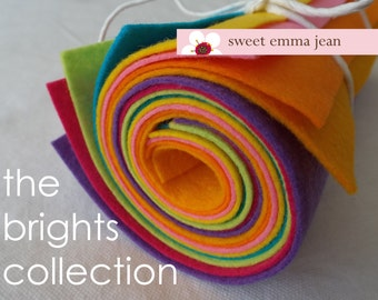 9x12 Wool Felt Sheets - A Collection of Bright Colors - 8 Sheets of Felt