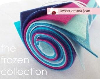 Wool Felt Sheets - The Frozen Collection - Eight 9x12 Sheets of Felt