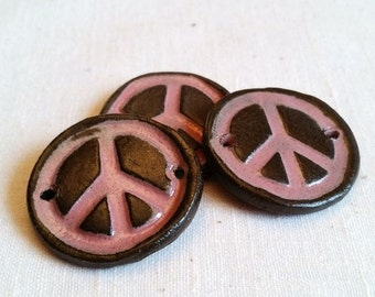 PEACE Pendant Focal Bead Ceramic Connector Bead Pink Brown Artisan Ceramic Bead Jewelry Components Bracelet focal bead closure bead