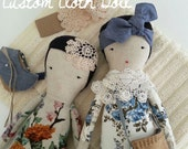 Custom Cloth Doll - moose & bird