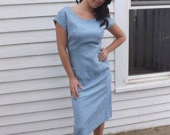 Vintage Blue Dress 50s 60s 1950s 1960s Sleeveless Chic S M Embroidered