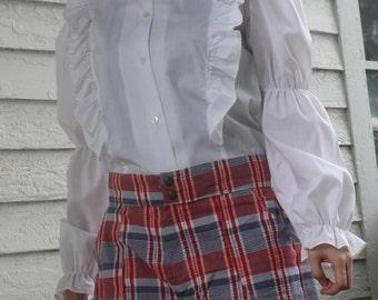 Plaid Shorts Red White Blue Print Picnic Summer Vintage 70s M