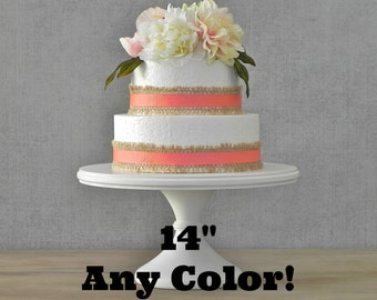 "14"" Cake Stand Wedding Cake Stand White Pedestal Stand ANY COLOR Cupcake Wedding E. Isabella Designs Featured In Martha Stewart Weddings"