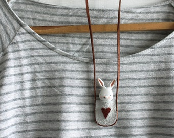Bunny necklace - Paper clay miniature white rabbit in a bag - Wearable art- made to order