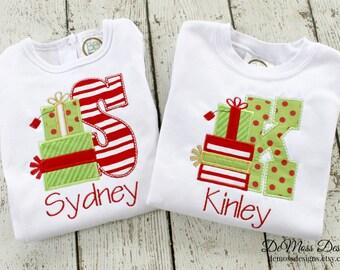 Gift Monogram Personalized Christmas Shirt, Appliqued, Short or Long Sleeve Shirt,  Totally Custom