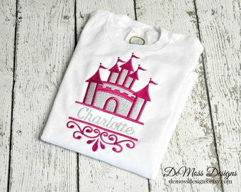Personalized Castle Swirl, Personalized Shirt, Appliqued, Short or Long Sleeve Shirt