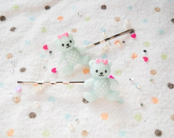 Teddy Bear Bobby Pins, Kawaii Bobby Pins, Bear Hair Pin, Kawaii Hair Pin, Pastel Kawaii, Pastel Bobby Pins, Sweet Lolita, Girls Gift