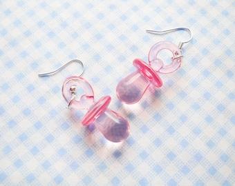 Pink Soother Earrings, Baby Soother Earrings, Binky Earrings, Cute Earrings, Rave Earrings, Kawaii Earrings, Lolita Earrings, Teen