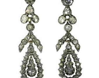 Victorian Diamond Chandelier Earrings Rose Gold Diamond Cut Antique Earrings 1830s
