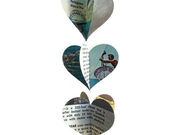 Oceanography - Mini Paper Heart Garland Decoration -  Repurposed Vintage Field Guide to Oceanography - Ready to Ship - Earth Day Decoration