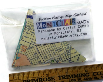 Road Trip Decoration - Custom Banner - Your State or City - Mini and Sweet - Going Away Party Decoration - Paper Bunting - Vintage Road Maps