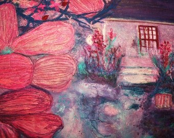 A silk painted art quilt for sale. Done in an impressionist style, affordable original art i