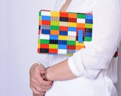 Oversize multicolor clutch made entirely of LEGO bricks FREE SHIPPING