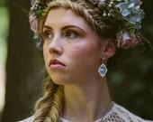 Cloud 9 Sterling Silver & Porcelain Earrings, Bridal Earrings Mrs Peterson Pottery
