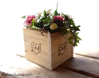 Personalized Rustic Boxes Table Centerpiece Decor Display Barnwood Woodsy Wedding