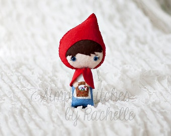 """Lil' Red Felt Doll - 5-3/4"""" Handmade Made to Order Miniature Doll - Little Red Riding Hood - Fairy Tale Doll"""