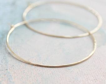 """Thin Gold Hoop Earrings, Large Hoop Earrings 2"""" large thin gold hoops, gold earrings, minimalist earrings"""