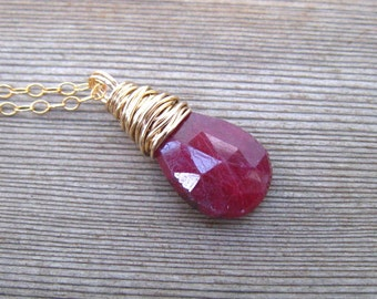 Gold Ruby Necklace, Natural Gemstone, July Birthstone, Ruby Jewelry, 14 K Gold Filled Wire Wrapped Ruby Pendant, Layering Necklace