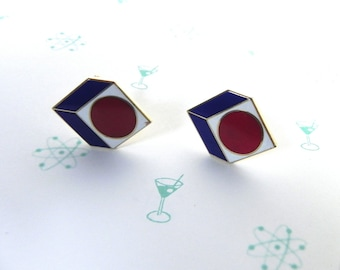 Vintage Cufflinks 60s Ultra Mod BullsEye Geometric Links - on sale