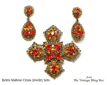 Rhinestone Gold Maltese Cross Brooch & Drop Earrings in Fire Opal and Topaz Crystal - Retro 40's Demi Parure Pave Set Costume Jewelry Sets