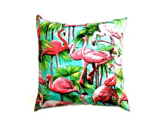 "Pink Flamingo Cushion Cover 14"" 35cm Decorative Cotton Pillow Case Teal Aqua Pink Green Tropical Bright Bold Summer Retro Print Gift Ideas"