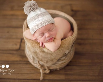 Newborn photo prop, newborn hat, newborn boy, newborn girl, knit newborn hat, newborn props, beanie with pompom,newborn prop,design your own