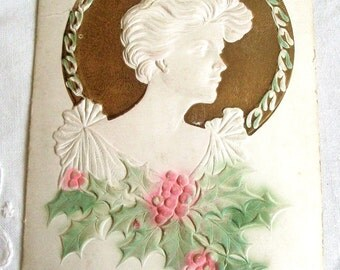 1915  Embossed Vintage Christmas Postcard Antique Ephemera, Lady Christmas Postcard
