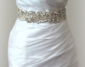 "Gold Crystal & Pearl Wedding Belt, Bridal Sash, 13"" of Rhinestones in Gold Settings - ALESSIA"