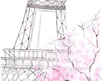 Watercolour illustration Titled Paris in Spring