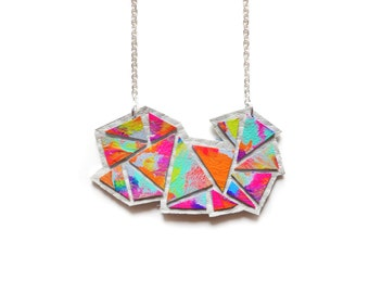 Colorful Rainbow Triangle Geometric Necklace, Small Leather Chevron Necklace, Hand Painted Jewelry, Ombre Neon Gradient