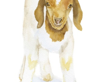 Goat Watercolor Painting 4 x 6 Fine Art Giclee Reproduction - Nursery Art