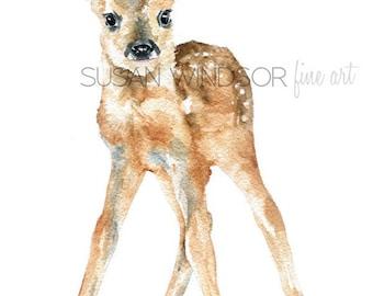 Deer Fawn Watercolor Painting Giclee Print 5x7 Nursery Art