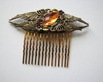 Butterfly hair comb   gold hairpiece   brass wings   art nouveau