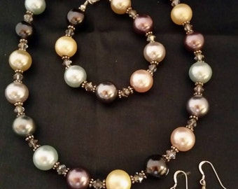 Shell Pearl and Sterling Necklace, Bracelet and Earrings