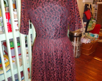 Vintage Black Satin Dress with Brown Lace Overlay
