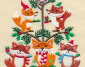 Fox in a Christmas Tree Embroidered on WHITE Kitchen, Hand Towel or Quilt Block Square