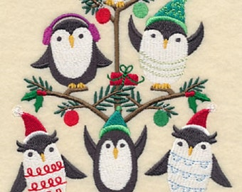 Penguins in a Tree (Tweet) Embroidered on WHITE Kitchen, Hand Towel or Quilt Block Square