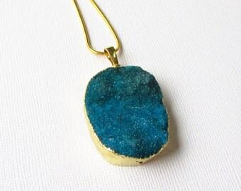 Druzy Geode Pendant - Indigo Blue Crystal Teardrop - Gold Edged - Semi Precious - Druzy Jewelry - Natural Stone - Rough Surface - Diy Craft