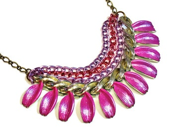 Colorful Fuchsia  Necklace Statement, Multi Chain, Upcycled Jewelry, Statement Necklaces, Prom Necklace, Hot Pink