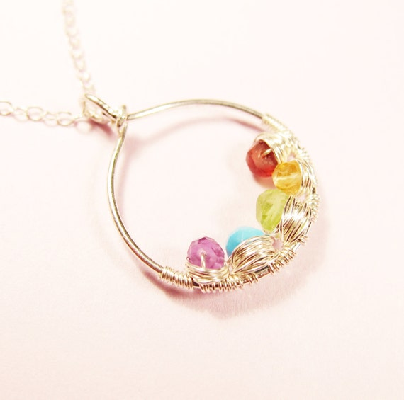 silver s necklace with birthstones