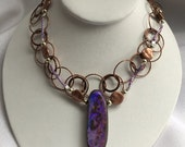 Extraordinary boulder opal, wire lace, copper & silver necklaces