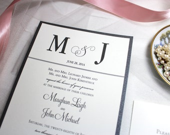 Classic Wedding Invitations, Silver and Black Invites with Monogram, The Meaghan Invitation Sample