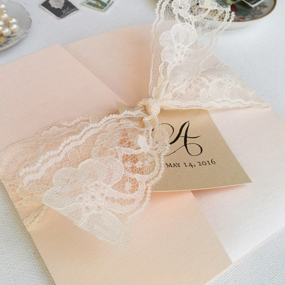 blush wedding invites pocketfold invites lace invitations, Wedding invitations
