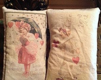 Primitive Vintage Victorian Valentine Art Card Set of 2  Ofg, DUB, HAFAIR, STATTEAM  TeamVintageUSA Pillow Tuck, Ornie, Bowl Filler